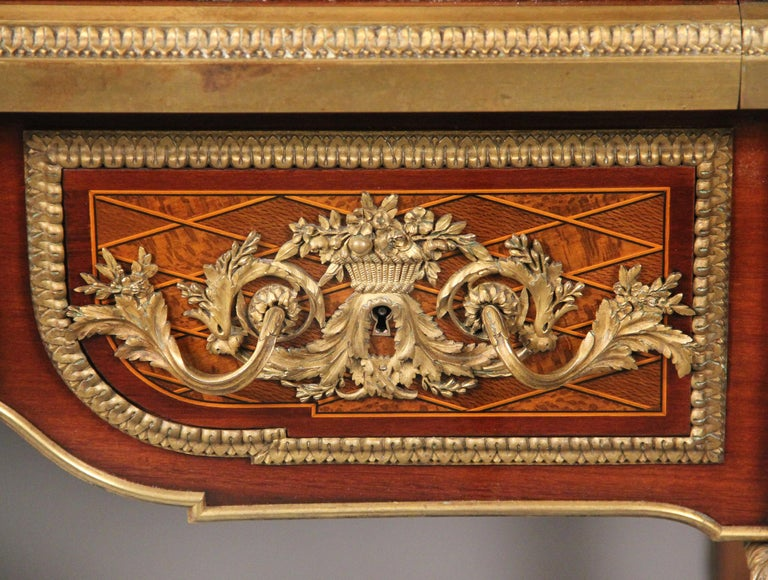 Leather Late 19th Century Gilt Bronze Mounted Bureau a Cylindre by François Linke For Sale