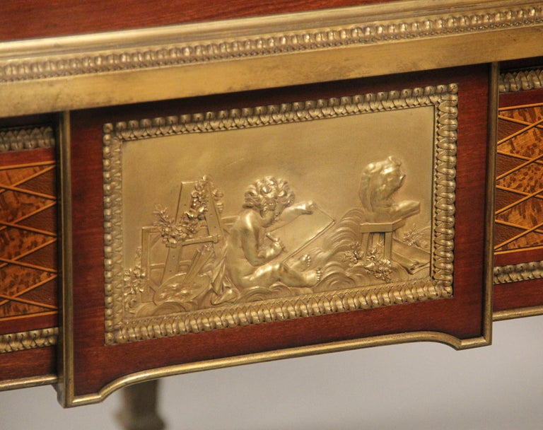 Late 19th Century Gilt Bronze Mounted Bureau a Cylindre by François Linke For Sale 3