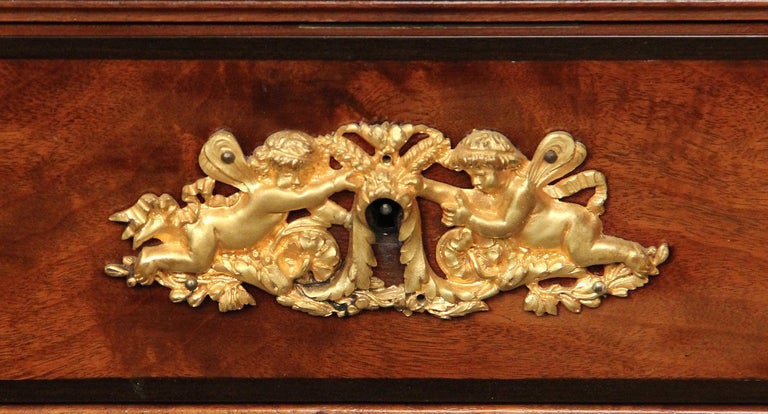 Leather Late 19th Century Gilt Bronze-Mounted Cartonnier / Secretaire by Antoine Krieger For Sale