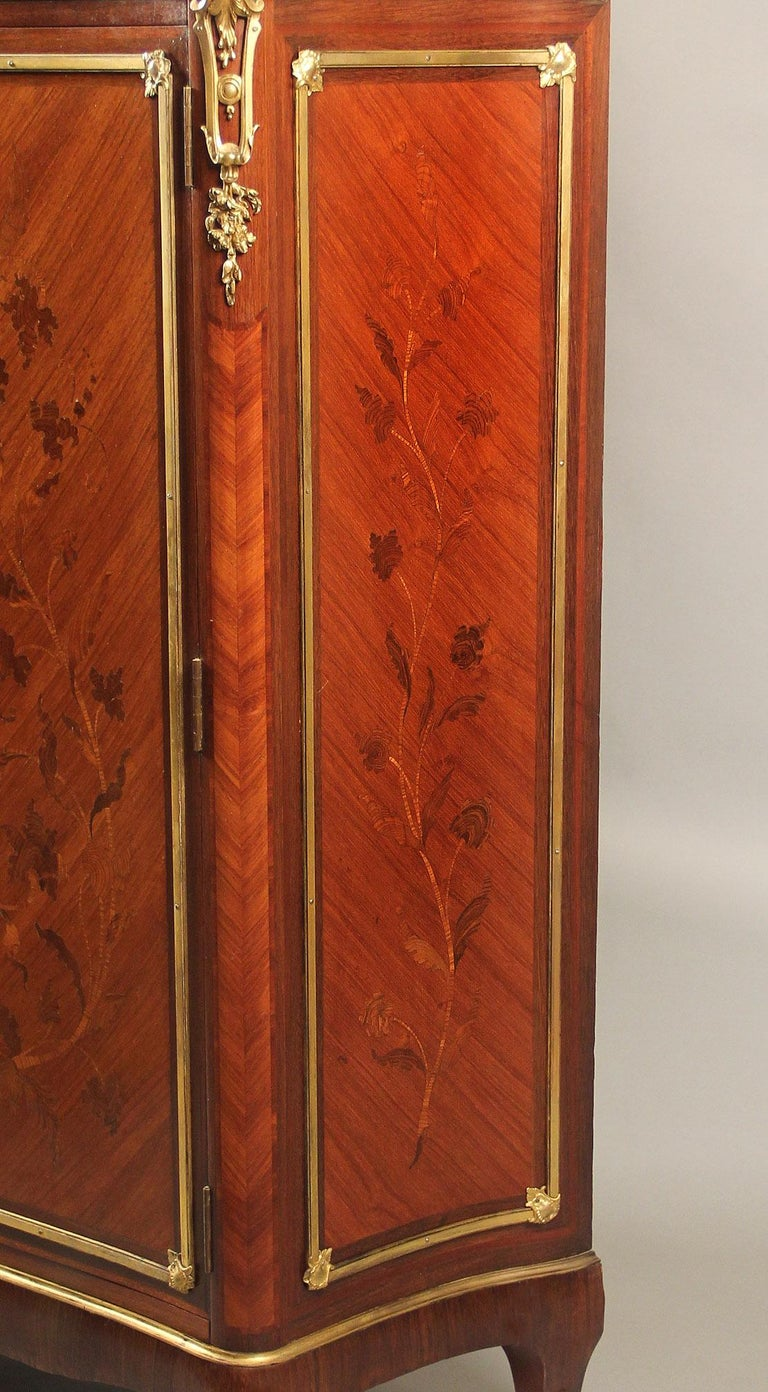 Belle Époque Late 19th Century Gilt Bronze Mounted Inlaid Marquetry Cabinet by Durand For Sale