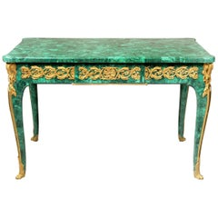 Late 19th Century Gilt Bronze Mounted Louis XV Style Malachite Center Table