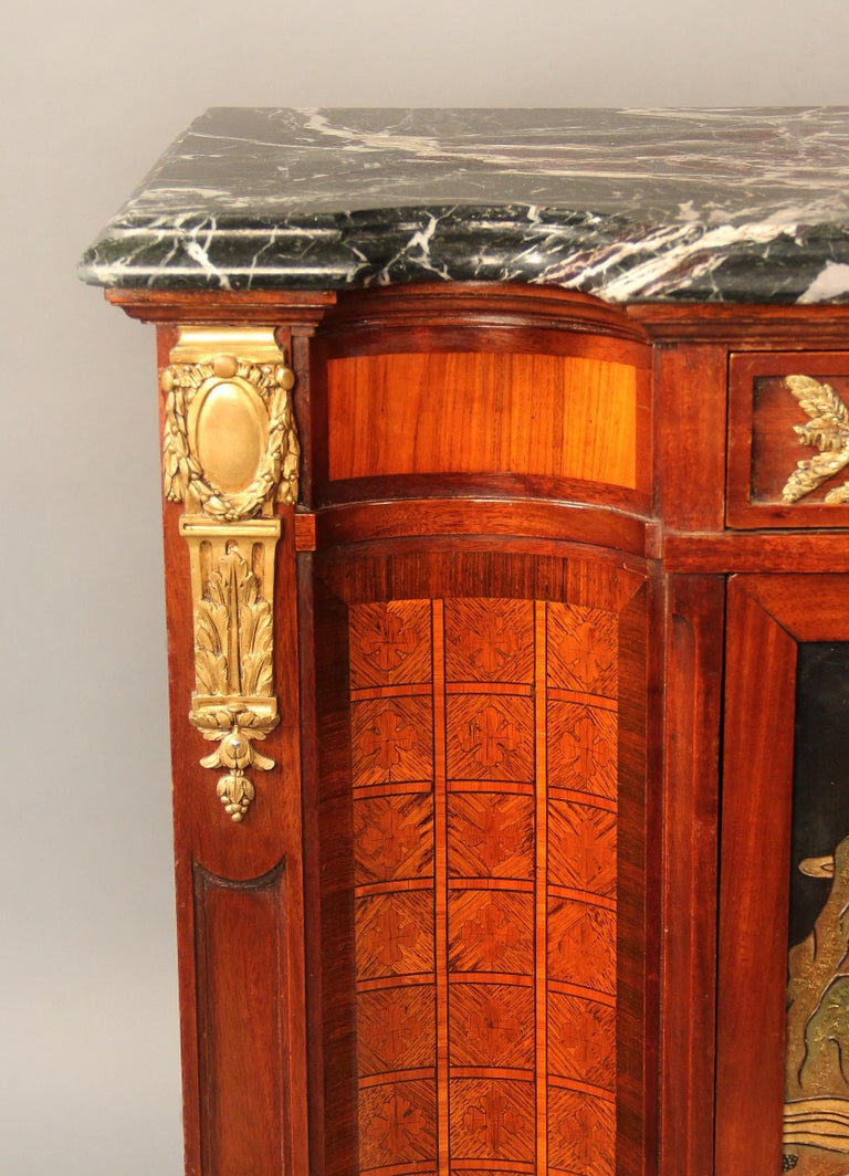 French Late 19th Century Gilt Bronze Mounted Louis XVI Style Chinoiserie Cabinet For Sale