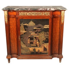 Late 19th Century Gilt Bronze Mounted Louis XVI Style Chinoiserie Cabinet