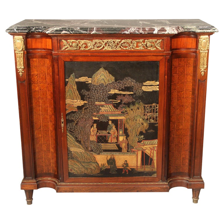 Late 19th Century Gilt Bronze Mounted Louis XVI Style Chinoiserie Cabinet For Sale