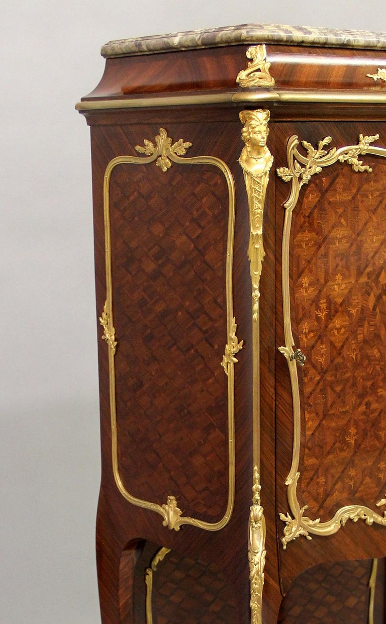 French Late 19th Century Gilt Bronze Mounted Marquetry Cabinet by François Linke For Sale