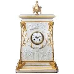 Late 19th Century Gilt Bronze Mounted Parcel-Gilt and Biscuit Porcelain Clock