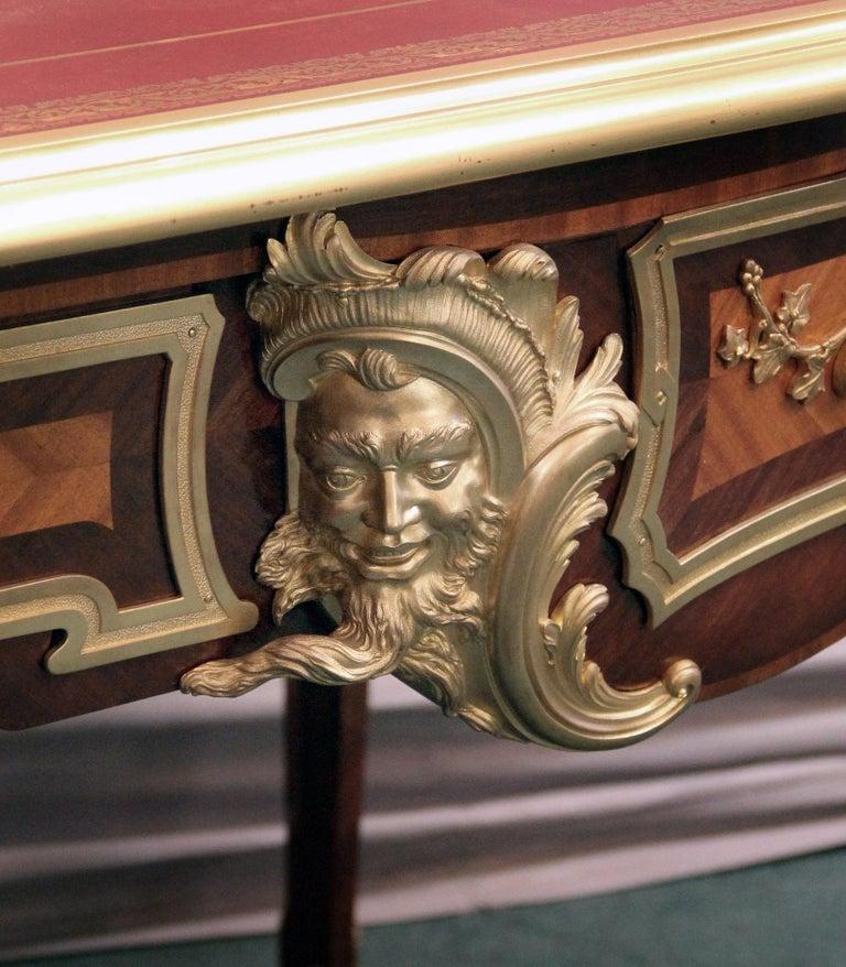 Belle Époque Late 19th Century Gilt Bronze Mounted Parquetry Bureau Plat after Cressent