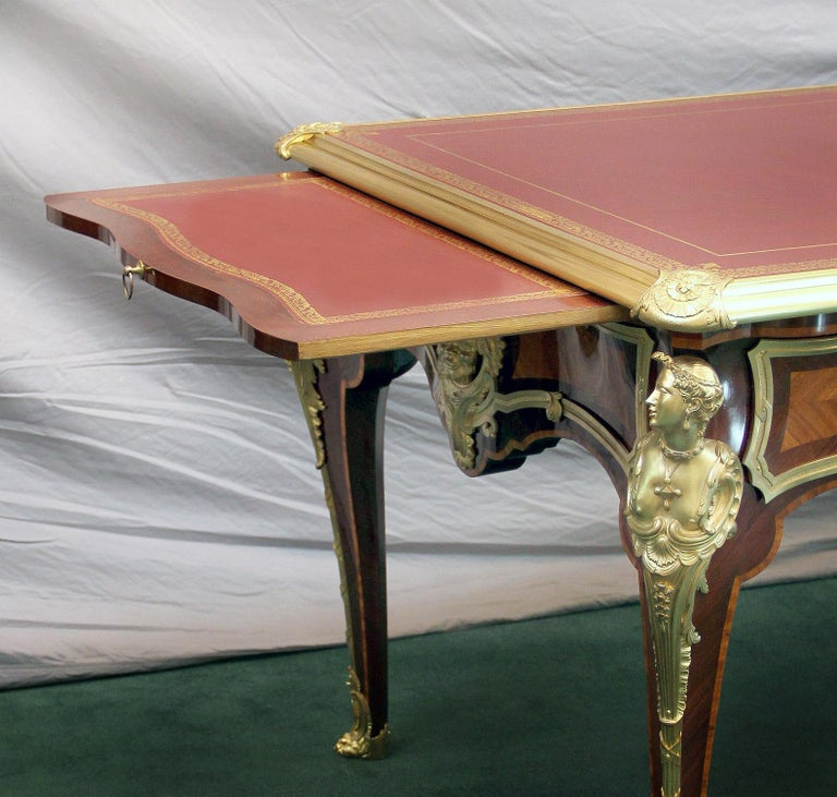 Late 19th Century Gilt Bronze Mounted Parquetry Bureau Plat after Cressent In Good Condition In New York, NY