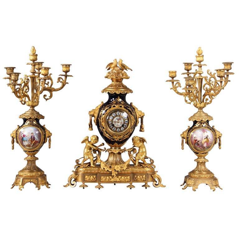Late 19th Century Gilt Bronze Mounted Three Piece Sèvres Style Clock Set