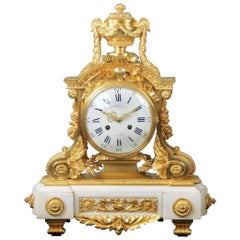 Late 19th Century Gilt Bronze Mounted White Marble Mantle Clock by Charpentier