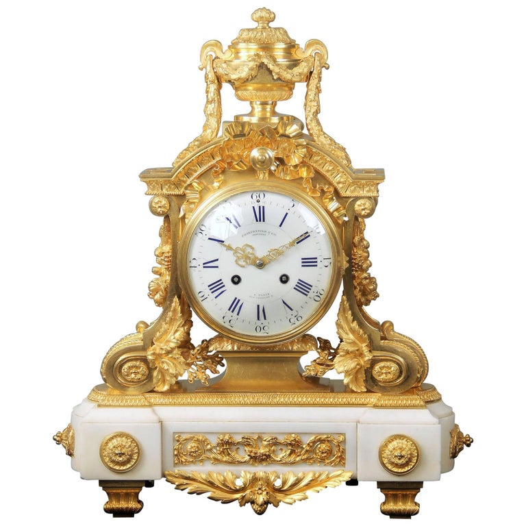 Late 19th Century Gilt Bronze Mounted White Marble Mantle Clock by Charpentier For Sale