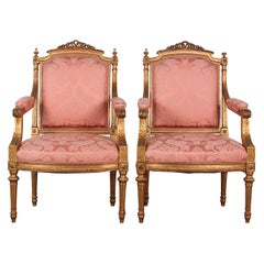 Late 19th Century Gilt Louis XVI Style Carved Armchairs