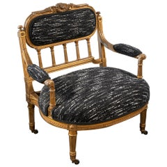 Late 19th Century Gilt Low Armchair Louis XV Style with Bouclé Fabric, France