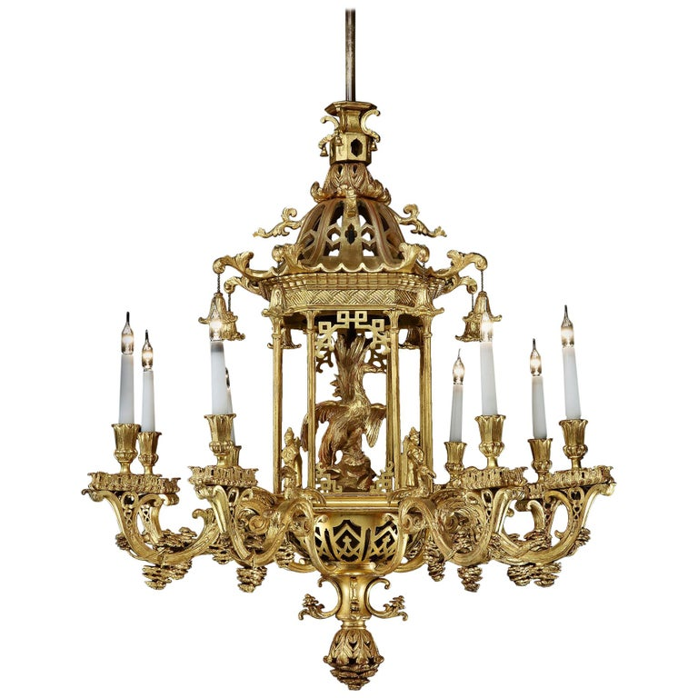 Late 19th Century Giltwood Chandelier in the Chinese Chippendale Manner