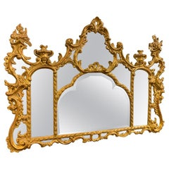 Late 19th Century Giltwood Overmantle Mirror with Original Bevelled Glass