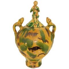 Late 19th Century Glazed Catalonian Majolica Folk Art Urn