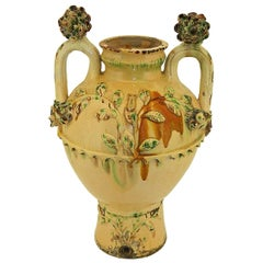 Late 19th Century Glazed Majolica Tabletop Water Jar from Andalusia, Spain