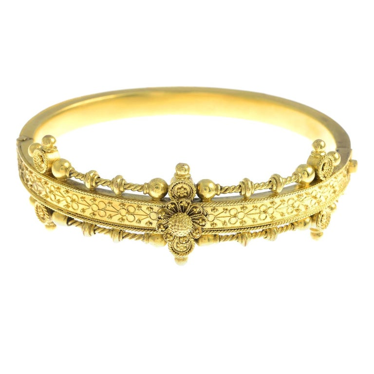 Late 19th Century Gold Hinged Bangle For Sale