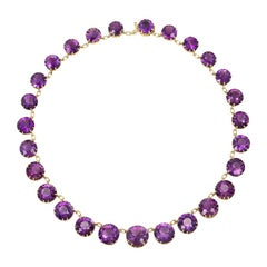 Late 19th Century Graduated Amethyst and Gold Necklace