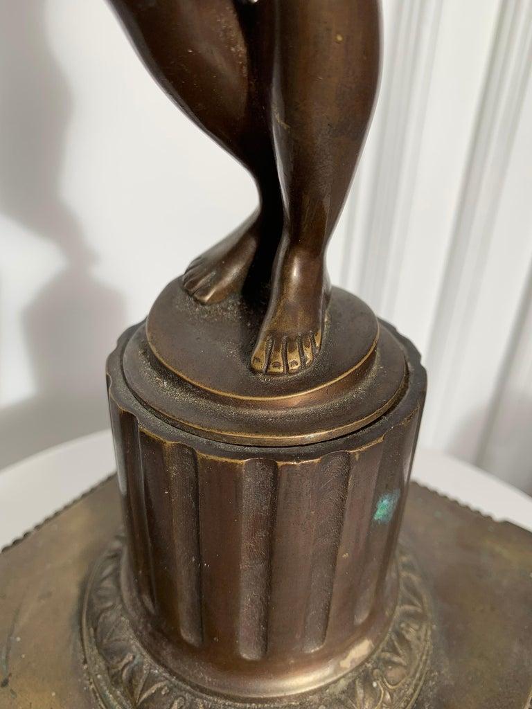 Late 19th Century Grand Tour Italian Bronze Sculpture of Nude Venus Candlestick For Sale 6