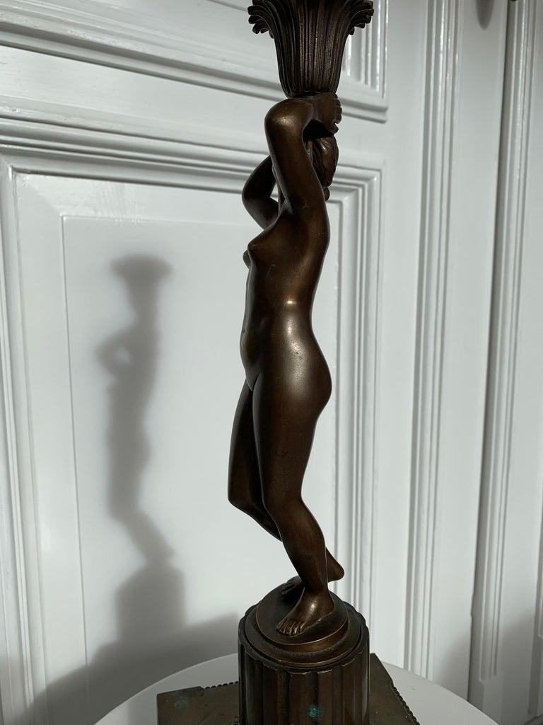 Late 19th Century Grand Tour Italian Bronze Sculpture of Nude Venus Candlestick For Sale 7