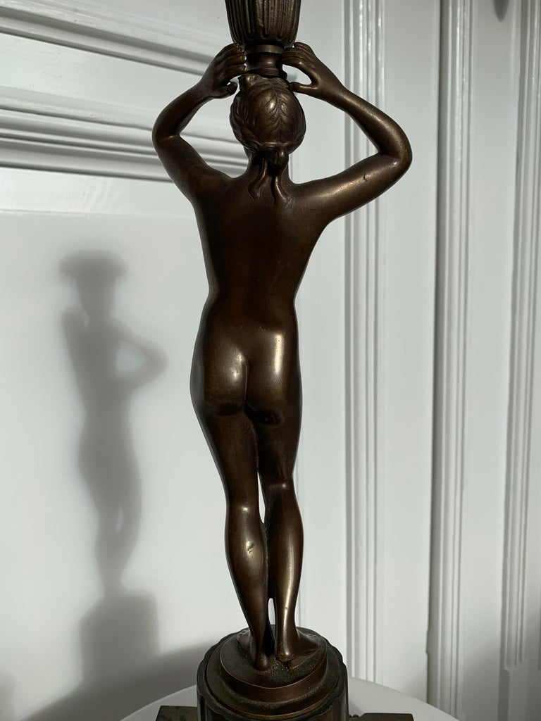 Late 19th Century Grand Tour Italian Bronze Sculpture of Nude Venus Candlestick For Sale 8