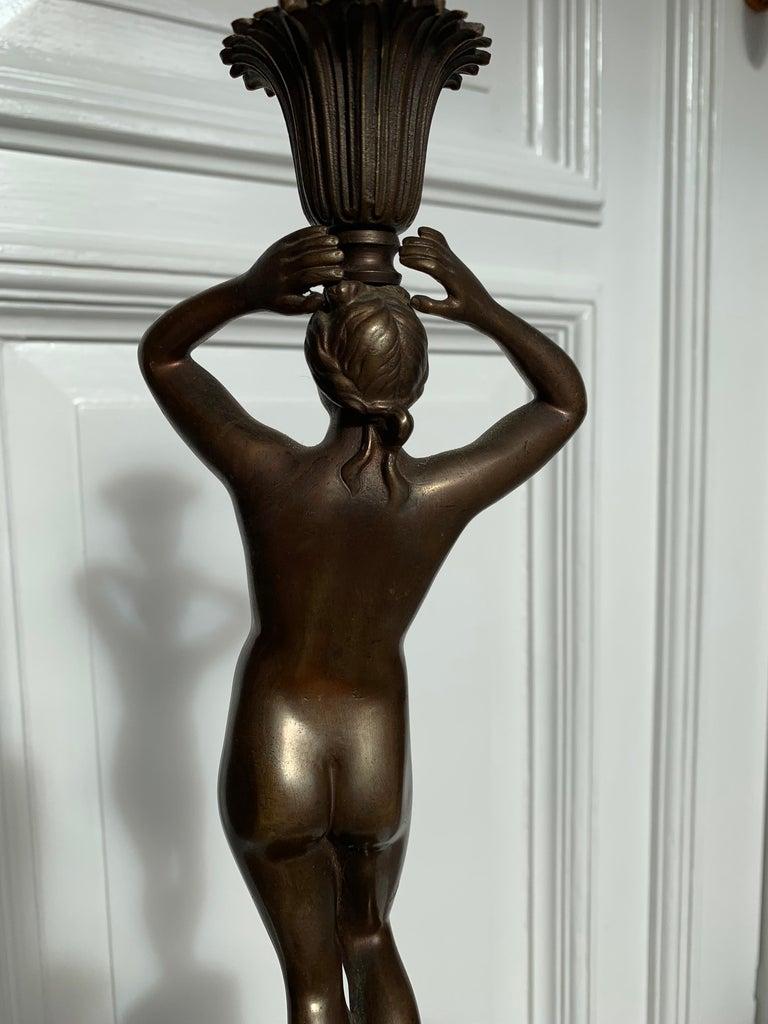 Late 19th Century Grand Tour Italian Bronze Sculpture of Nude Venus Candlestick For Sale 9