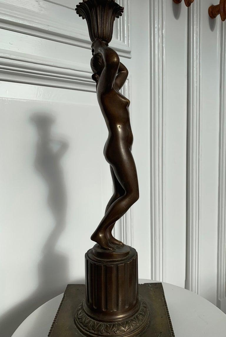 Late 19th Century Grand Tour Italian Bronze Sculpture of Nude Venus Candlestick For Sale 11