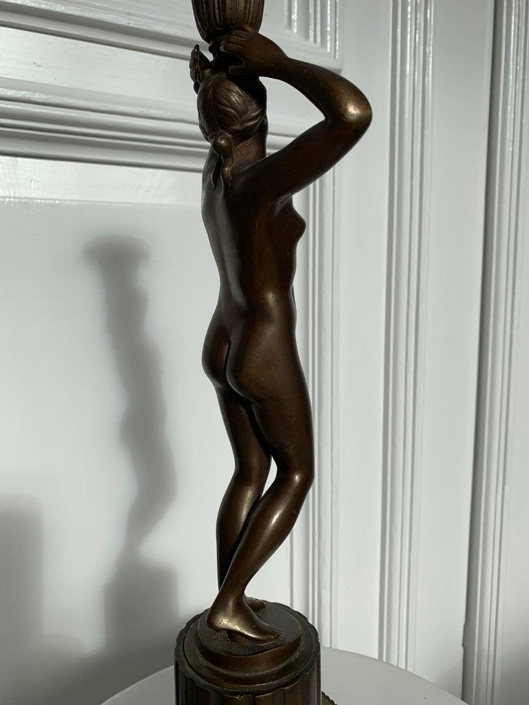 Late 19th Century Grand Tour Italian Bronze Sculpture of Nude Venus Candlestick For Sale 12
