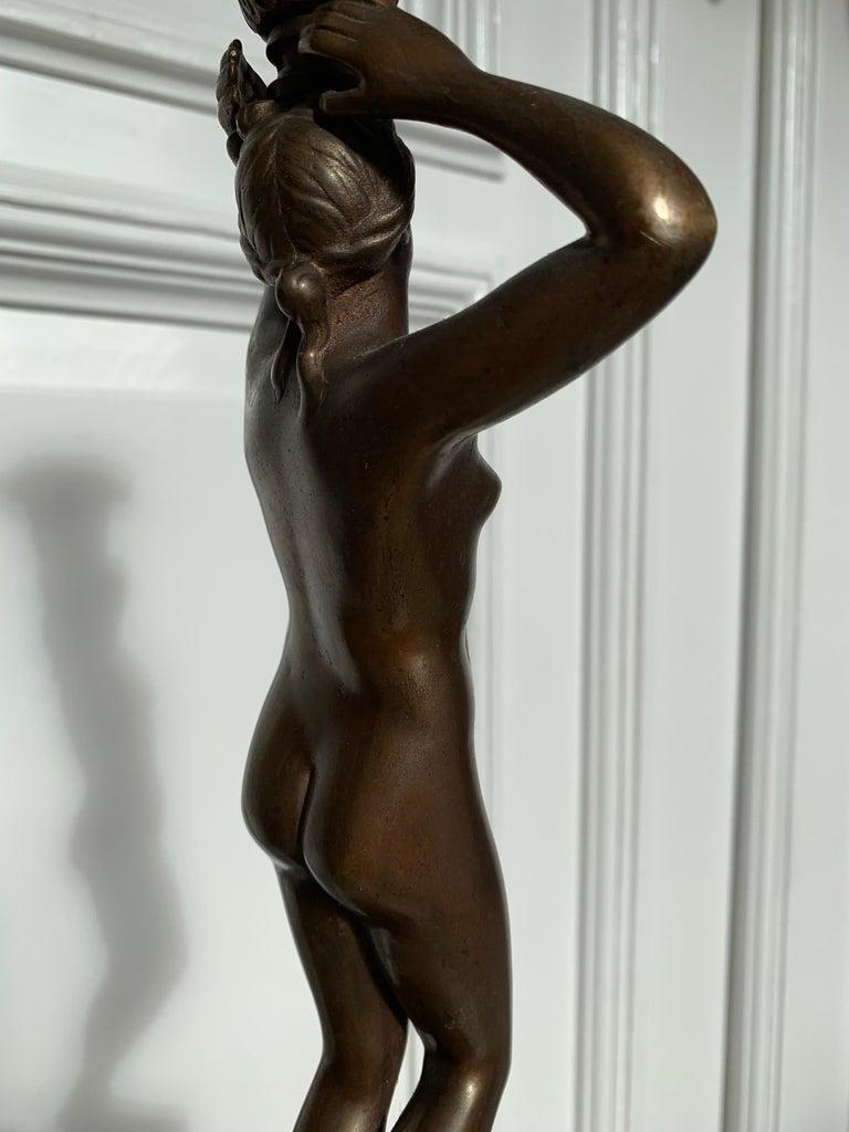 Late 19th Century Grand Tour Italian Bronze Sculpture of Nude Venus Candlestick For Sale 13