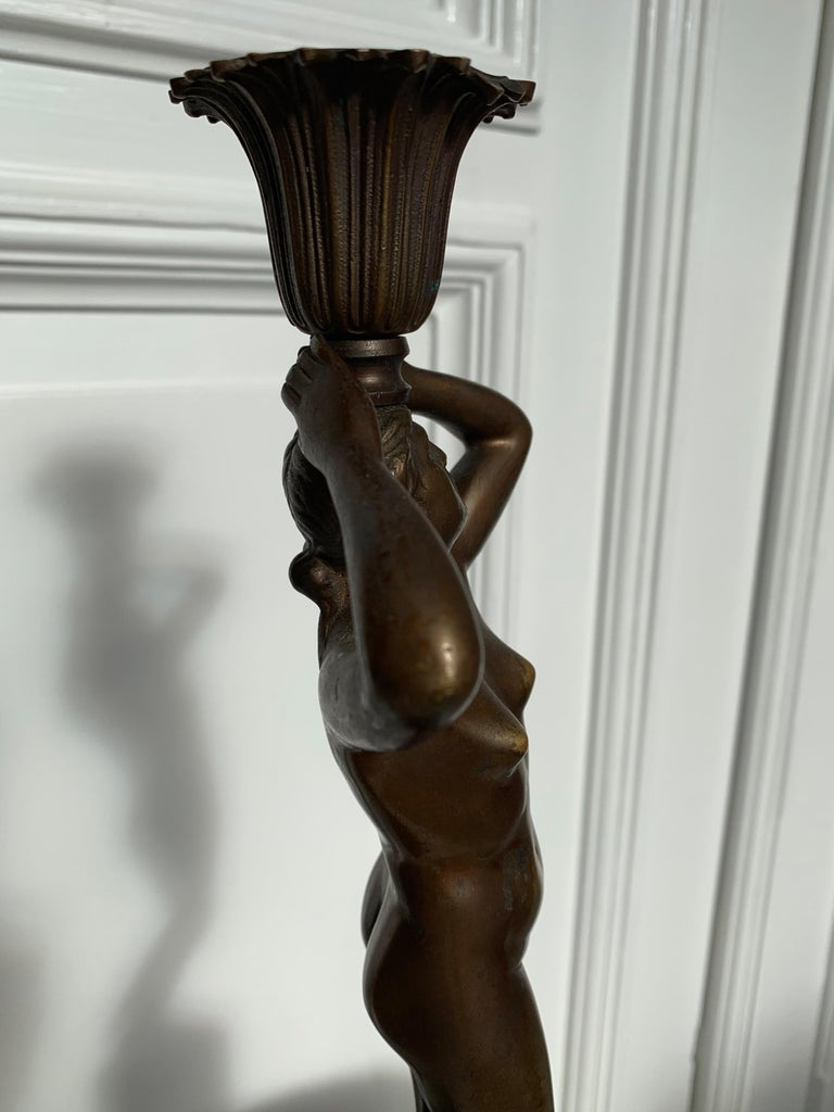 Late 19th Century Grand Tour Italian Bronze Sculpture of Nude Venus Candlestick For Sale 14