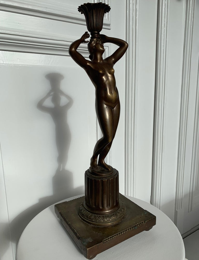 Patinated Late 19th Century Grand Tour Italian Bronze Sculpture of Nude Venus Candlestick For Sale