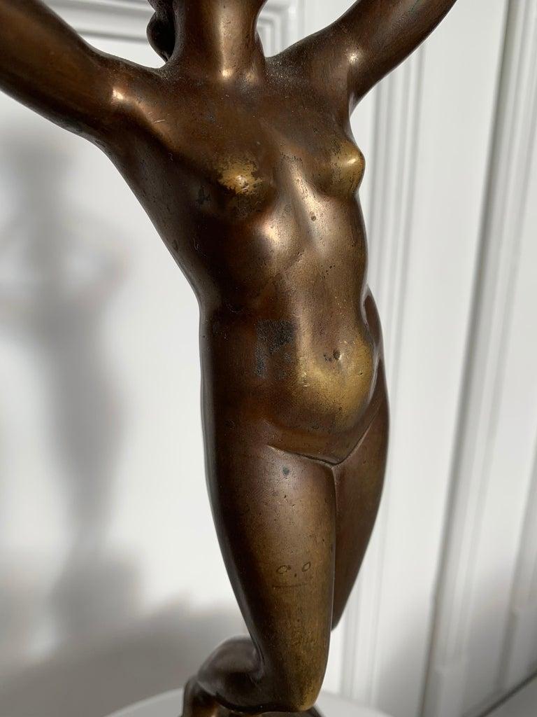 Late 19th Century Grand Tour Italian Bronze Sculpture of Nude Venus Candlestick For Sale 2