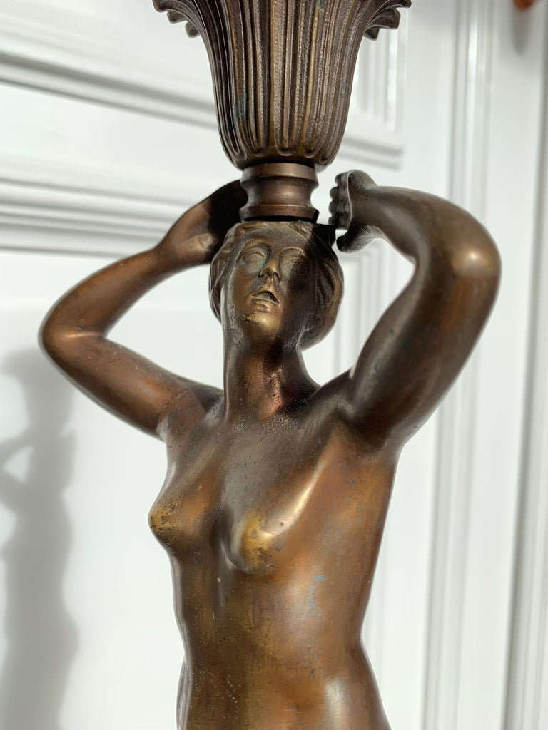 Late 19th Century Grand Tour Italian Bronze Sculpture of Nude Venus Candlestick For Sale 3