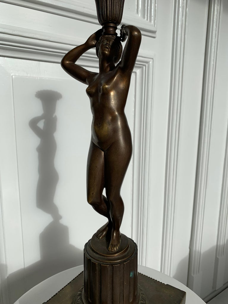 Late 19th Century Grand Tour Italian Bronze Sculpture of Nude Venus Candlestick For Sale 4
