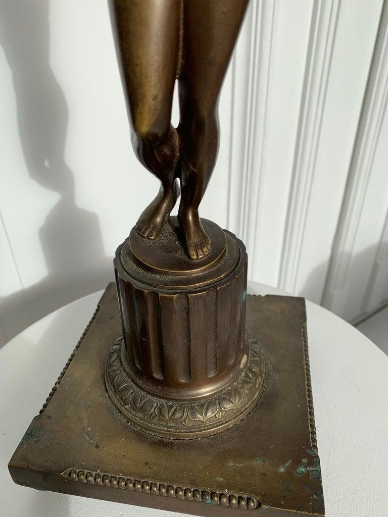 Late 19th Century Grand Tour Italian Bronze Sculpture of Nude Venus Candlestick For Sale 5