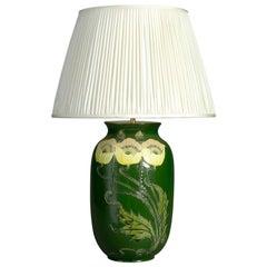 Late 19th Century Green Glazed Art Nouveau Period Vase Lamp