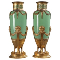 Late 19th Century Green Jade and Gilt Brass Vases