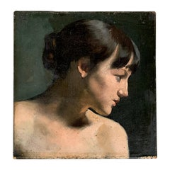 Late 19th Century Grisaille Oil on Canvas Painting of a Young Lady in Profile