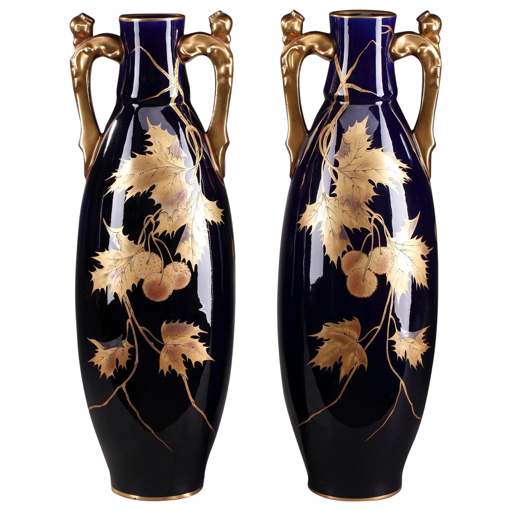 Late 19th Century Gustave Asch Blue Ceramic Vases