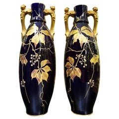 Late 19th Century Gustave Asch Blue Ceramic Vases Wine Grapes and Leaves