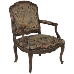 Late 19th Century Hand-Carved French Armchair with Needlepoint Tapestry