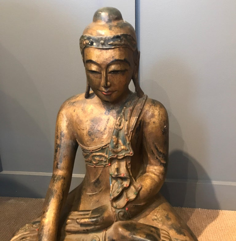 Gilt Late 19th Century Hand Carved Thai Buddha For Sale