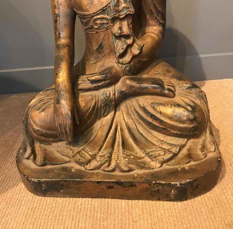 Late 19th Century Hand Carved Thai Buddha In Good Condition For Sale In Lambertville, NJ