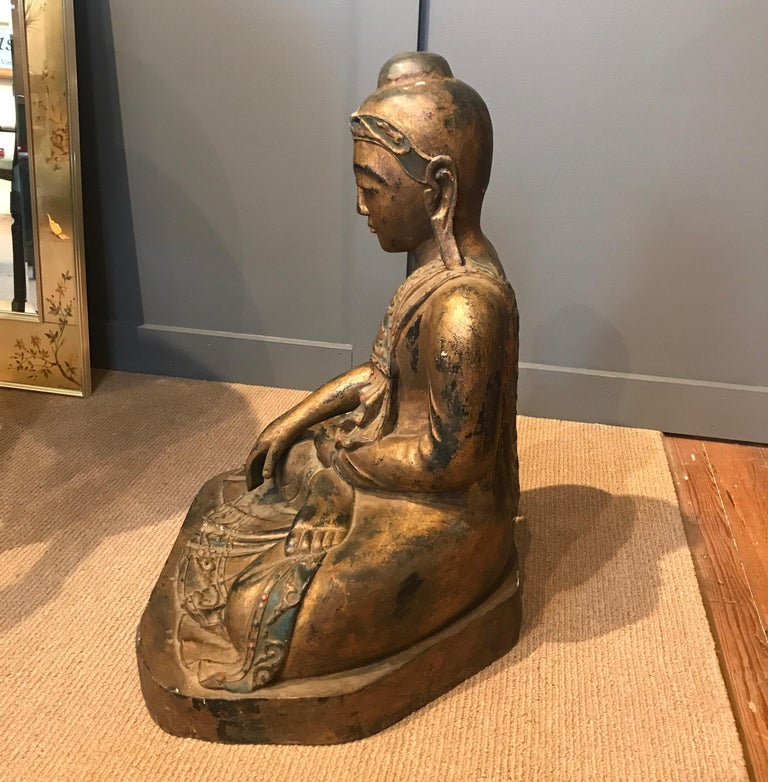 Hardwood Late 19th Century Hand Carved Thai Buddha For Sale