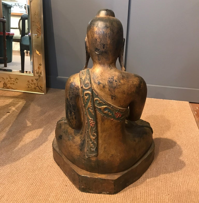 Late 19th Century Hand Carved Thai Buddha For Sale 1