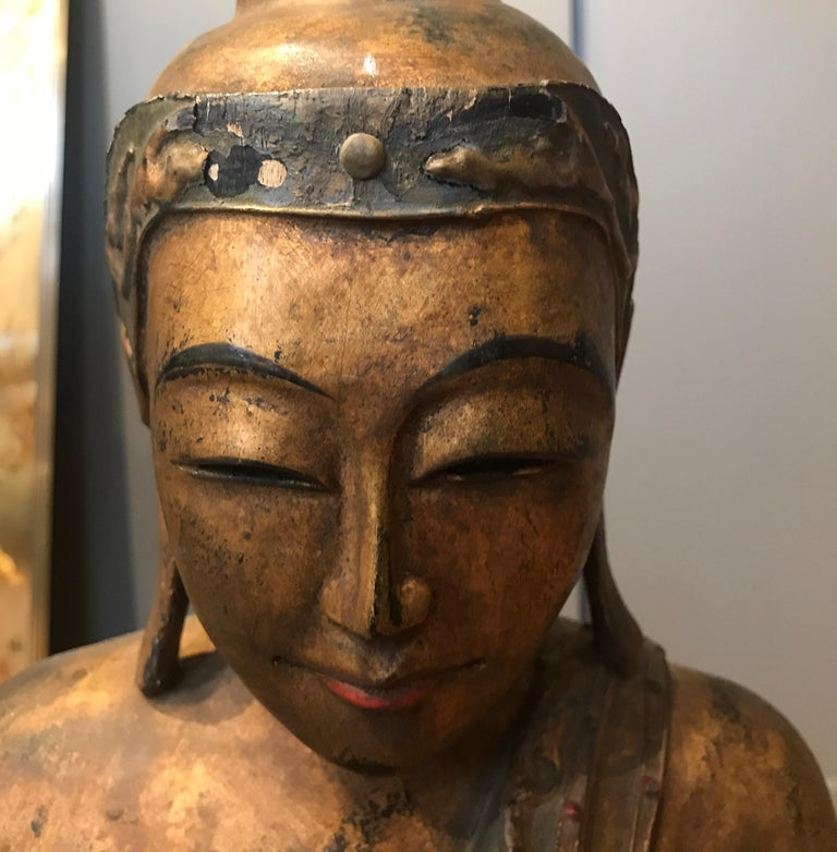 Late 19th Century Hand Carved Thai Buddha For Sale 3