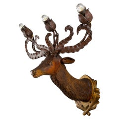 Late 19th Century Hand Carved Wooden Deer Head Three-Light Wall Lamp, Germany