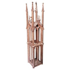 Late 19th Century Handcrafted Dutch Oak Gothic Style Tower Model