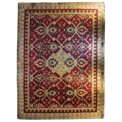 Late 19th Century Hand Knotted Red and Golden Wool Agra North Indian Rug